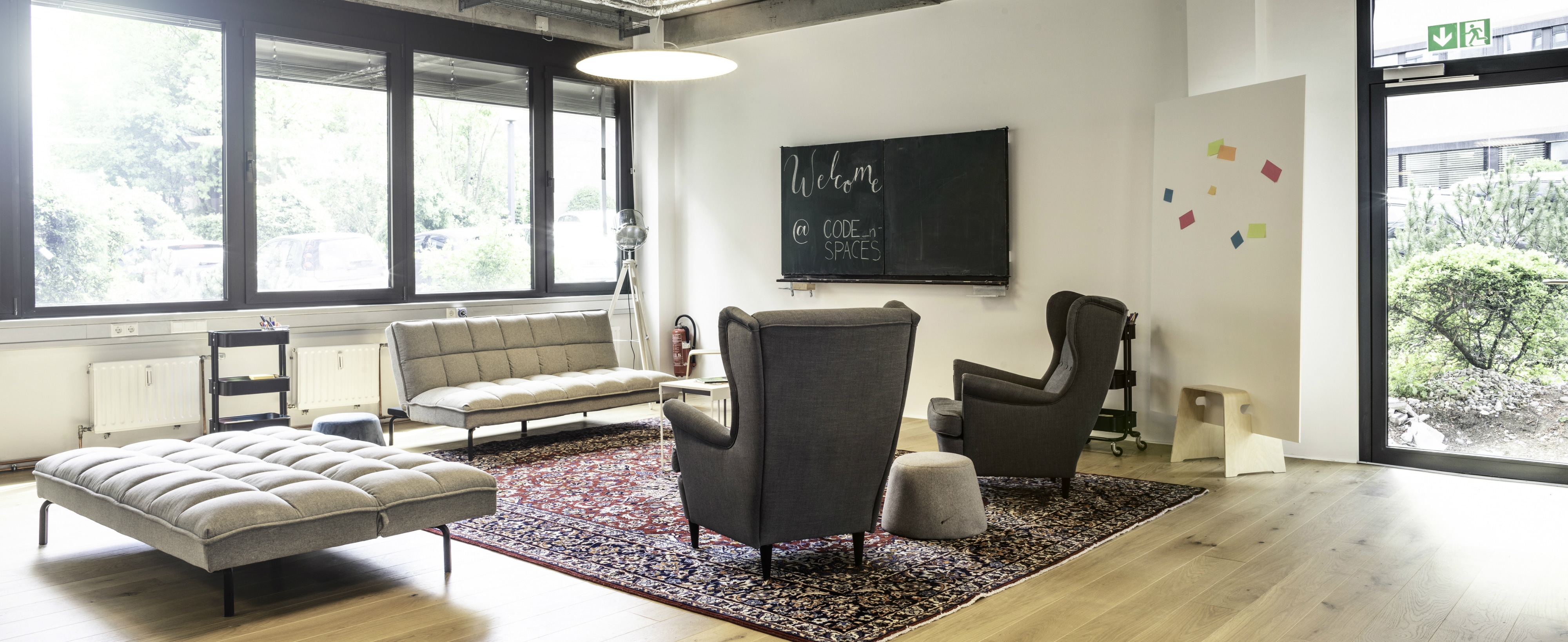 CODE_n SPACES Event Area, Lounge Corner with Blackboard